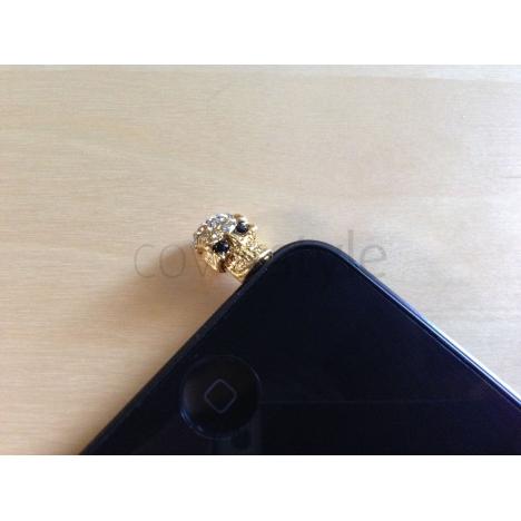 Tappo Anti-Polvere Teschio con Brillanti - Oro
