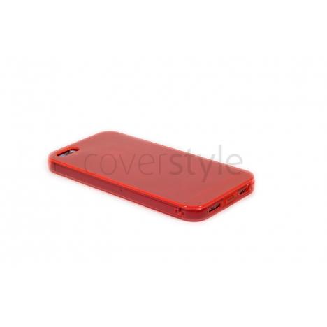 Custodia Ultra Sottile Flessibile Trasparente Anti-Polvere per iPhone 5/5S - Rosso
