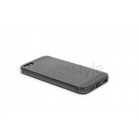 Custodia Ultra Sottile Flessibile Trasparente Anti-Polvere per iPhone 5/5S - Nero