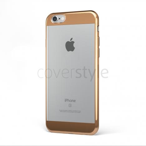 "CoverStyle® - Custodia ChromFlex S Flessibile + Bordo e Bande Cromate per iPhone 6/6S Plus (5.5"") - Bronzo"