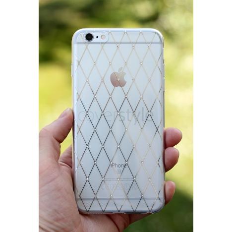 """CoverStyle® - Custodia LuxFlex N°1 con Brillantini + Stampa Oro per iPhone 6/S Plus (5.5"""") - Rombi"""